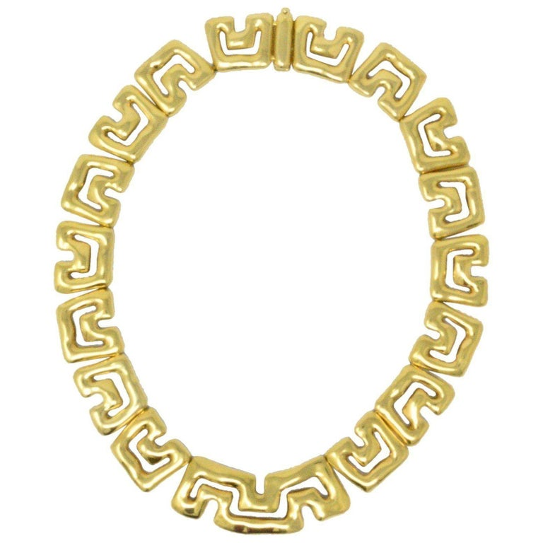 Tiffany & Co. 18 Karat Yellow Gold Abstract Geometric Necklace