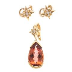H Stern 6.50 Carat Imperial Topaz Diamond 18 Karat Gold Star Earrings Pendant