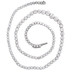 13.62 Carat Elaborate Platinum Diamond Riviere Necklace