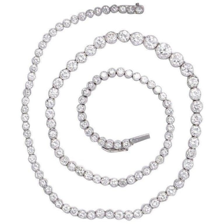 13.62 Carat Elaborate Platinum Diamond Riviere Necklace