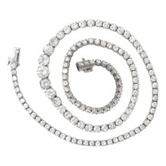 14 Carat Round Brilliant Platinum Diamond Riviere Necklace