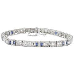 5.04 Carat Total Diamond Sapphire Platinum Art Deco Bracelet