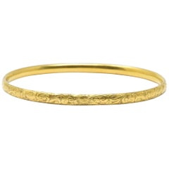 Simmons Art Nouveau 14 Karat Gold Bangle Bracelet
