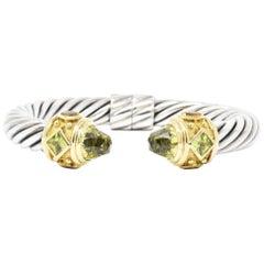 David Yurman Peridot Citrine Quartz Silver 18 Karat Yellow Gold Cable Bracelet