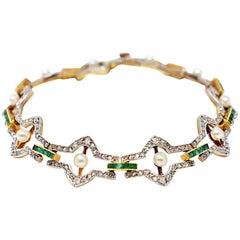 Belle Époque Natural Pearl Emerald Rose Cut Diamonds Platinum 18 Karat Bracelet