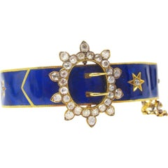 Victorian Blue Enamel 3 Carat Mine Cut Diamond Buckle 18 Karat Gold Bracelet