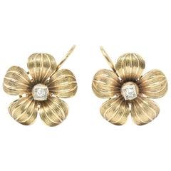 Diamond 14 Karat Gold Victorian Flower Earrings