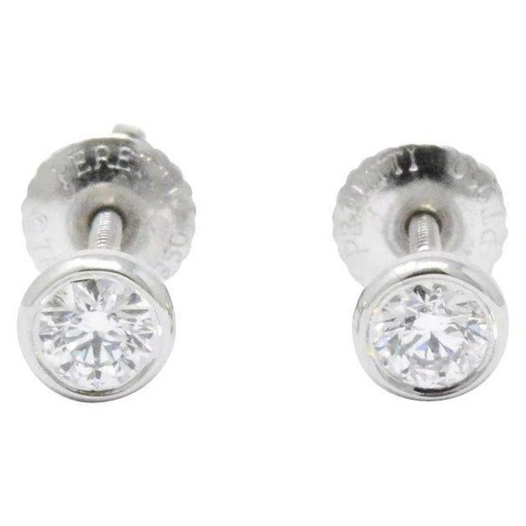 Tiffany & Co. .46 Carat Diamond Platinum Stud Earrings Elsa Peretti