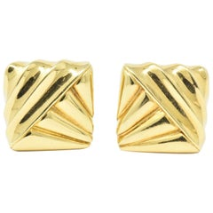Cartier 18 Karat Yellow Gold Geometric Motif Earrings, circa 1970