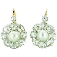Victorian Rose Cut Diamond Pearl 18 Karat Rose Gold Platinum Cluster Earrings