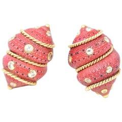 Fred Leighton 14 Karat Gold Diamond Composite Seashell Earrings, circa 1980