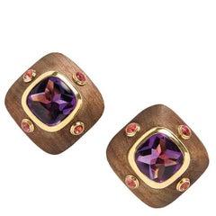 Van Cleef & Arpels 18 Karat Gold Wood Amethyst and Pink Tourmaline Earrings