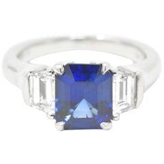 4.02 Carat  Natural Sapphire Trapezoid Diamond Platinum Ring