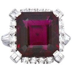 1950's Bailey Banks & Biddle 13.37 Rubellite Tourmaline Diamond Platinum Ring