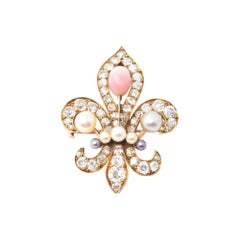 Victorian 18 Karat Natural Conch Pearl Fleur De Lis Diamond Brooch