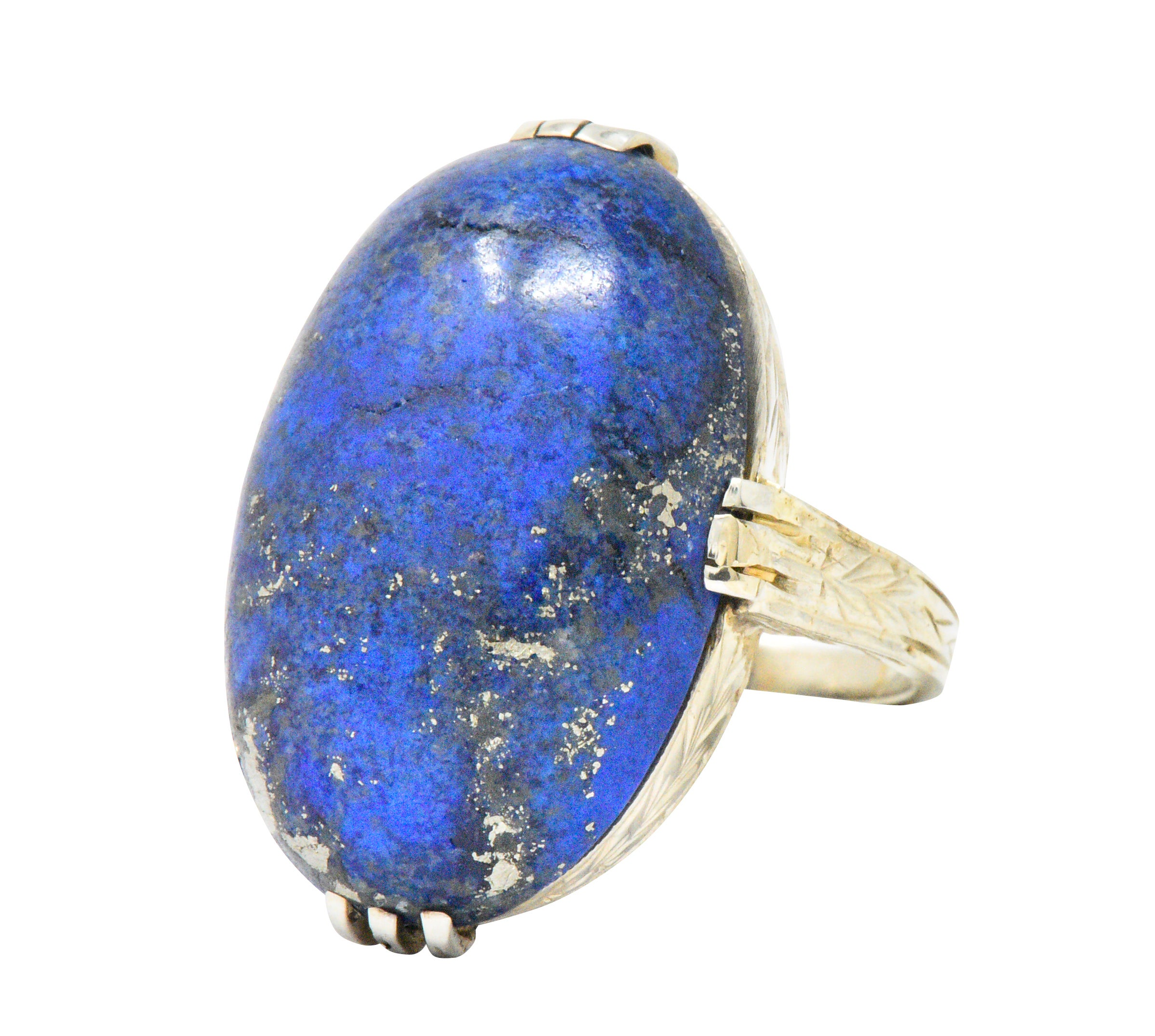 Art Nouveau Lapis Lazuli and 14 Karat White Gold Cocktail Ring