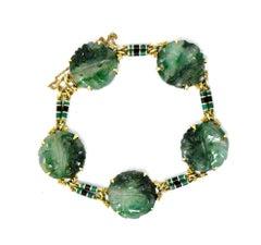 Art Nouveau Carved Jade Enamel and 14 Karat Gold Bracelet