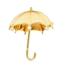 Tiffany & Co. 1980s 0.18 Carat Diamond 18 Karat Gold Umbrella Brooch