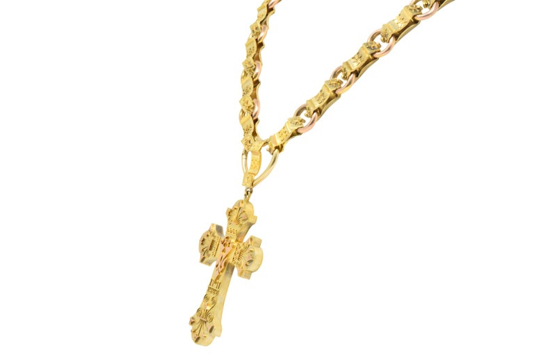 Ornate Victorian 14 Karat Rose Gold Yellow Gold Cross Necklace For Sale 1