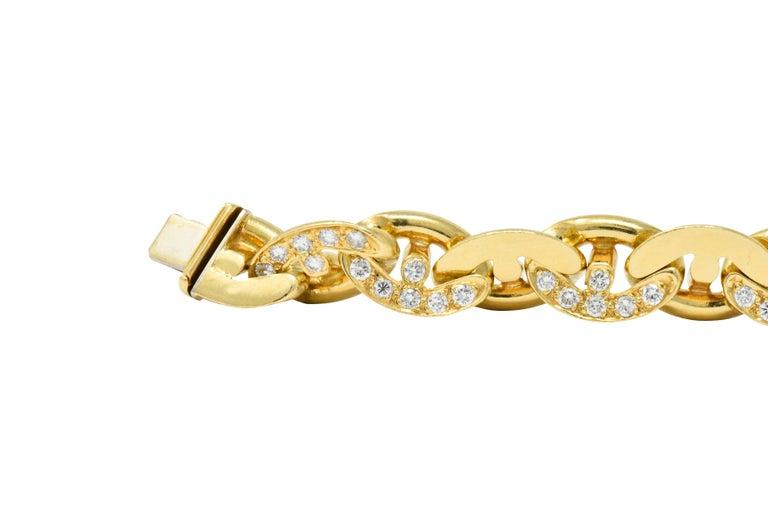 Bulgari Contemporary 2.10 Carat Diamond 18 Karat Gold Link Bracelet For Sale 1