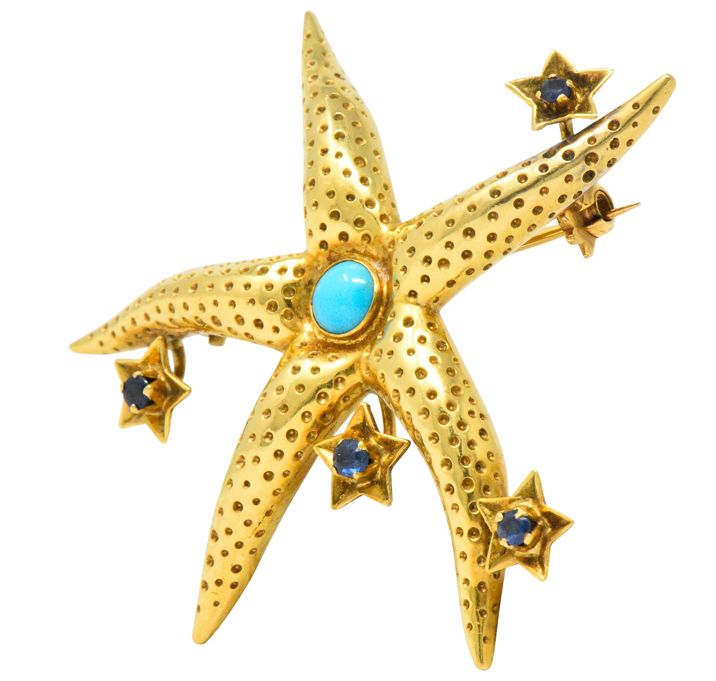 4946be648 Tiffany and Co. Retro Sapphire Turquoise 18 Karat Gold Starfish Brooch at  1stdibs