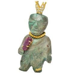 Koven 1.25 Carat Turquoise Diamond Ruby 18 Karat Gold Brooch