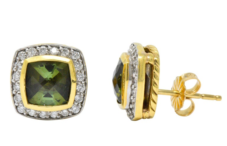 David Yurman 4.80 Carat Diamond Tourmaline 18 Karat Two-Tone Gold Stud Earrings In Excellent Condition For Sale In Philadelphia, PA
