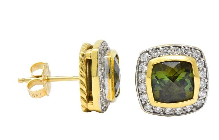 Women's or Men's David Yurman 4.80 Carat Diamond Tourmaline 18 Karat Two-Tone Gold Stud Earrings For Sale