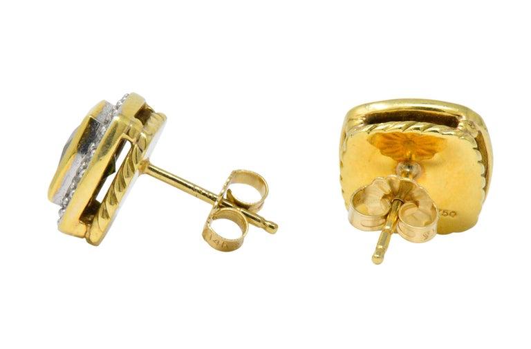 Contemporary David Yurman 4.80 Carat Diamond Tourmaline 18 Karat Two-Tone Gold Stud Earrings For Sale