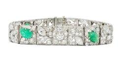 Art Deco Drosten 15.00 Carat Carved Emerald Diamond Platinum Bracelet