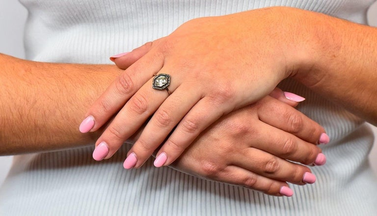 Georgian 2.00 Carat Diamond Silver-Topped 14 Karat Gold Engagement Ring, 1800 For Sale 5