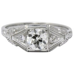 Art Deco .59 Carat Diamond and 14 Karat White Gold Engagement Ring