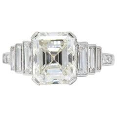 Art Deco 3.64 Carat Asscher Cut Diamond and Platinum Engagement Ring, GIA