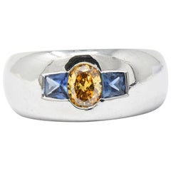 1.19 Carat Fancy Yellow-Orange Diamond, Sapphire and Platinum Men's Ring, GIA
