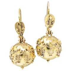 Pair of Victorian Etruscan Revival 14 Karat Gold Drop Earrings