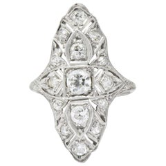 Art Deco 1.32 Carat Diamond and Platinum Dinner Ring