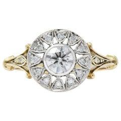 .73 Carat Diamond and Platinum-Topped 14 Karat Gold, circa 1950s