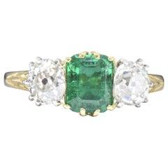 Edwardian 2.06 Carat Colombian Emerald, Diamond, Platinum and 18 Karat Gold Ring