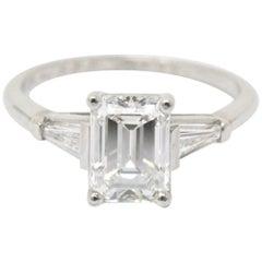 Bailey Banks and Biddle Platinum 1.93 Carat Emerald Cut Diamond Engagement Ring