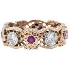 1.15 Carat Diamond, Synthetic Ruby, Platinum and 14 Karat Rose Gold Band Ring