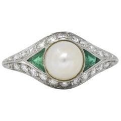Belle Époque Natural Pearl, Emerald, Diamond and Platinum Ring