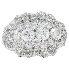 Edwardian 2.00 CTW Diamond Platinum & 14 Karat Gold Alternative Cluster Ring