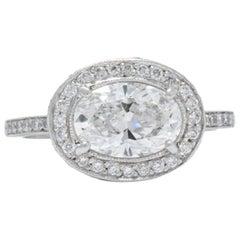 Cartier GIA Cert 1.41 Carat Diamond Platinum Engagement Ring with Original Box