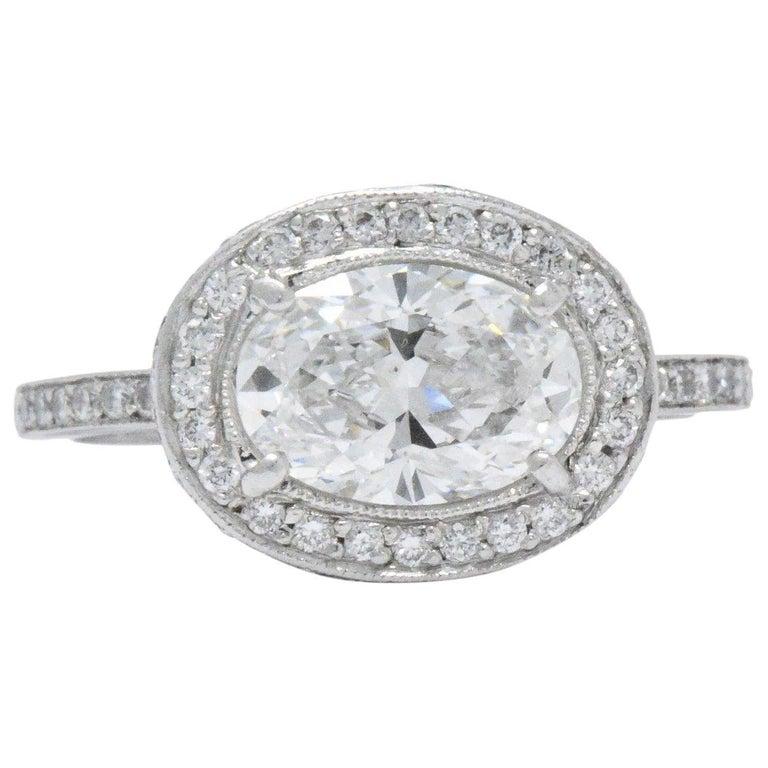 Cartier 1.96 CTW Diamond & Platinum Alternative Ring With Original Box, GIA For Sale