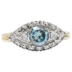 Retro 1.00 Carat Zircon Diamond Platinum and 14 Karat Gold Ring