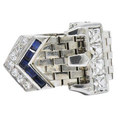 Vintage French Cut Diamond Sapphire and 14 Karat White Gold Belt Buckle Ring