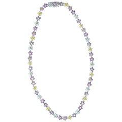 Contemporary Amethyst Tourmaline Peridot 18 Karat White Gold Flower Necklace