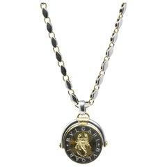 18 Karat Two-Tone Gold Zodiac Pendant Necklace, Bulgari with Original Pouch