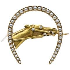 Retro Seed Pearl, Diamond and 14 Karat Gold Horseshoe Horse Brooch