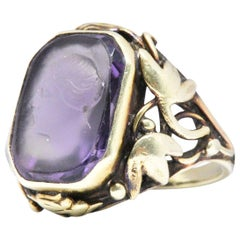 Art Nouveau Amethyst and 14 Karat Green Gold Cameo Ring